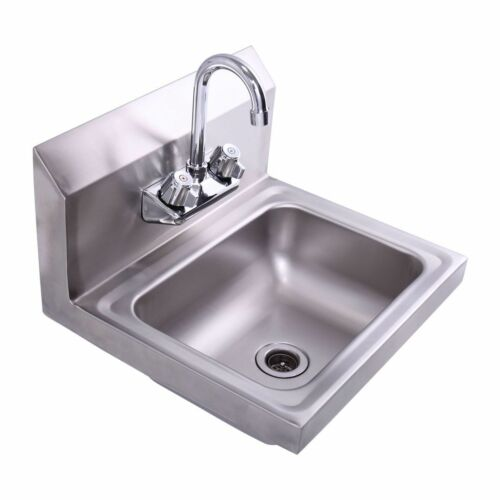 Commercial Wall Mount Kitchen Hand Wash Sink NSF Stainless Steel with Faucet