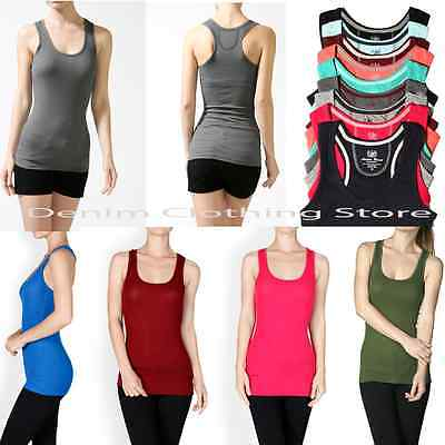 - WOMEN  BASIC SOLID COTTON STRETCH INNER BINDING RIBBED RACER BACK TANK TOP S M L