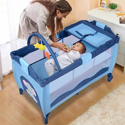 new blue baby crib playpen playard pack