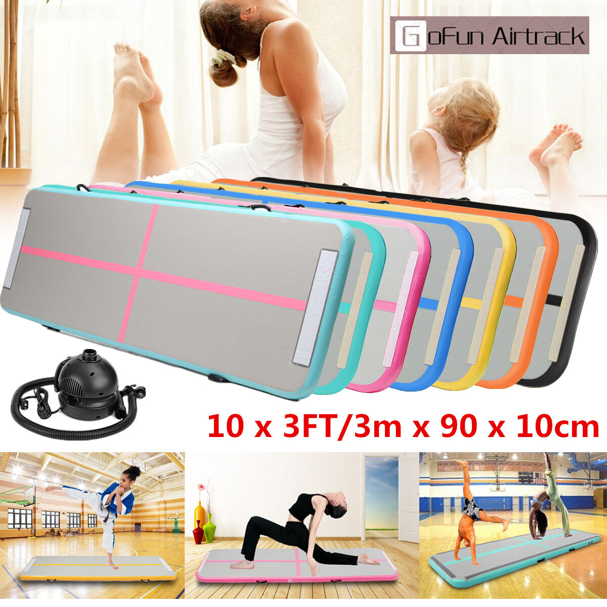 10x3Ft Airtrack Inflatable Air Track Floor Home Gymnastics Tumbling Mat GYM