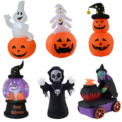 Halloween Aufblasbar Deko Kürbis Luftfiguren LED Beleuchtet Ghost Hexe Party