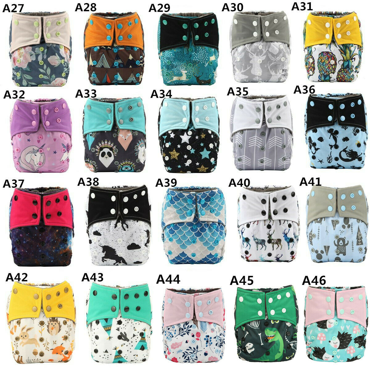 AIO Reusable Washable Cloth Diaper Nappy Charcoal Bamboo Overnight A-31