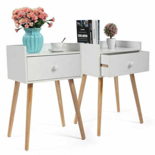 Set of 2 Nightstand Bedside End Table Solid Wood Legs W/ Storage Drawer Bedroom