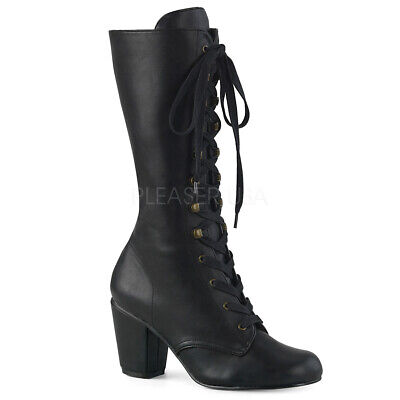 Black Vintage Antebellum Southern Belle Victorian Steampunk Womans Boots Shoes - Black Southern Belle