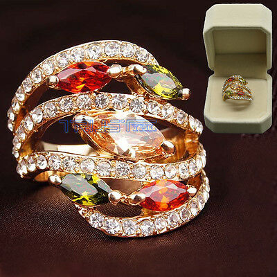 Rose Gold Filled Multi-Color CZ Women jewelry gift Fashion Jewelry Wedding ring - Rose Gold Wedding Colors
