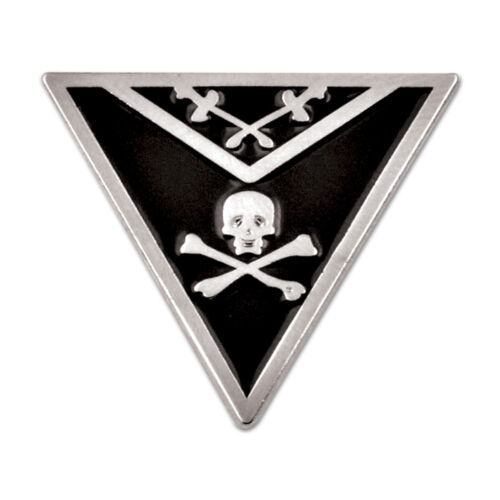 Knights Templar Apron Triangle Masonic Lapel Pin - [Black & Silver][7/8