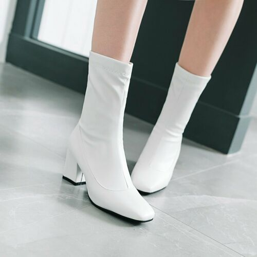 US Womens Block Heels Stretchy Ankle