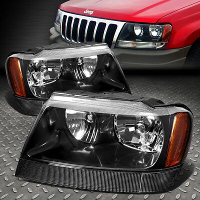 FOR 1999 2004 JEEP GRAND CHEROKEE BLACK HOUSING AMBER CORNER HEADLIGHTLAMP SET