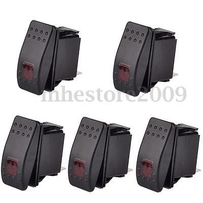 5x 12V WATERPROOF ON/OFF BAR ROCKER TOGGLE SWITCH RED LED LIGHT CAR BOAT MARINE