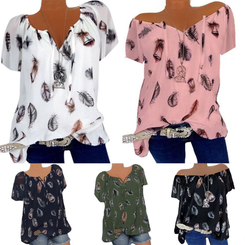 Plus Size Womens Short Sleeve V Neck T-Shirt Boho Floral Loo
