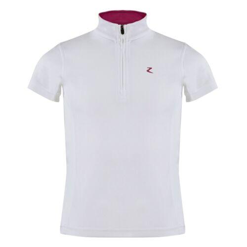 Horze brand Youth Kids WHITE POLO SHOW SHIRT w/ Pink Mesh Size 122/128 158/164
