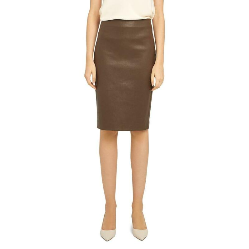 Theory Womens Brown Lamb Leather Skinny Day To Night Pencil Skirt 0 BHFO 7426