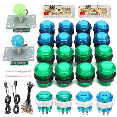 20 DIY MAME LED Arcade Buttons + 2 Joysticks + 2 USB Encoder Kit Game Parts Set