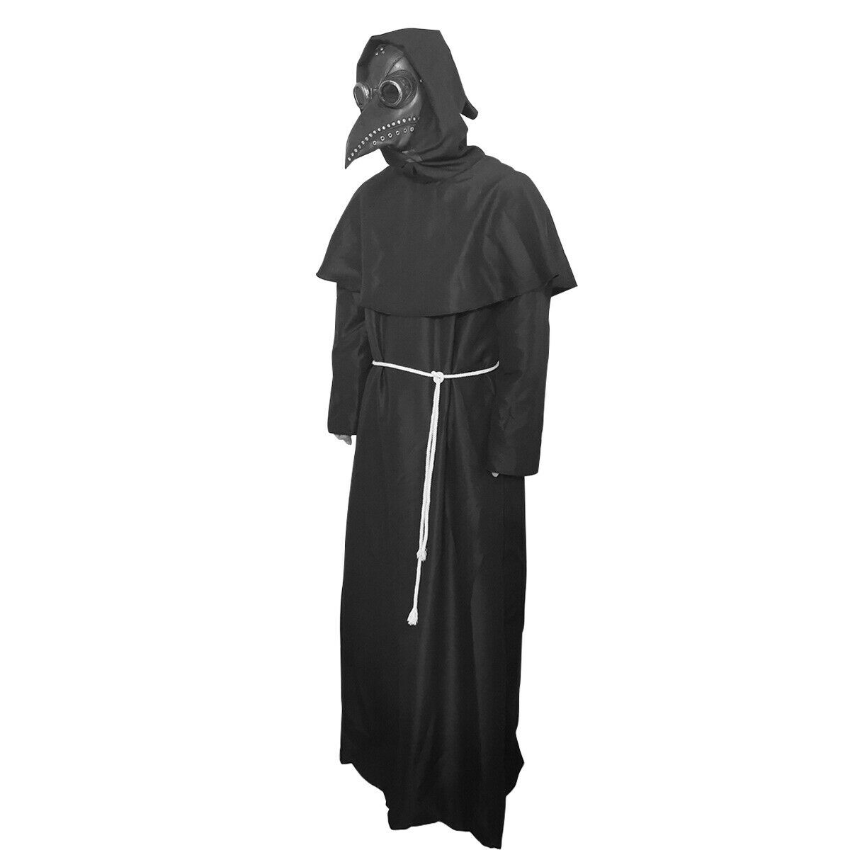 Plague Doctor Steampunk Hooded Robe Cloak Cape w/Bird Mask Cosplay Costume Props Accessories