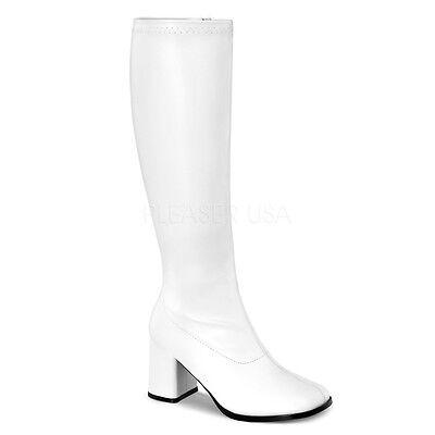 Wide Calf Go Go Boots (WIDE CALF Block Heel Retro Gogo White Matte Costume Knee Boots)