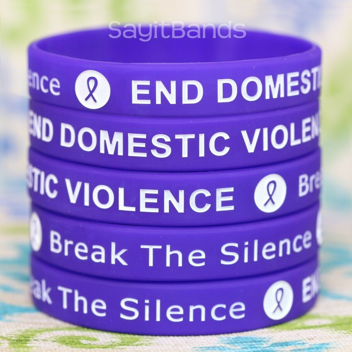 Set Of End Domestic Violence Wristbands - Wholesale Lot Of Silicone Bracelets - $4.98