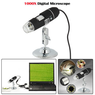 1000x Hd Digital Microscope Endoscope Magnifier Camera With Usb Interfaces 8 Led