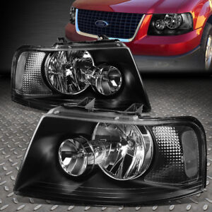 FOR 2003-2006 FORD EXPEDITION PAIR BLACK HOUSING CLEAR CORNER HEADLIGHT/LAMP SET