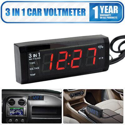 12V 3 in 1 Vehicle Car Kit Thermometer + Voltmeter + Clock LED Digital Display