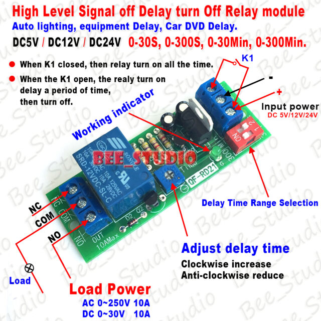 dc 5v 12v 24v adjustable time delay timing timer relay switch turn rh ebay com