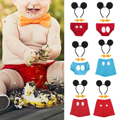 Baby Boys Mickey Mouse Cake Smash Outfits 1st Birthday Set Photo Props Costume - Baby Mickey Mouse First Birthday