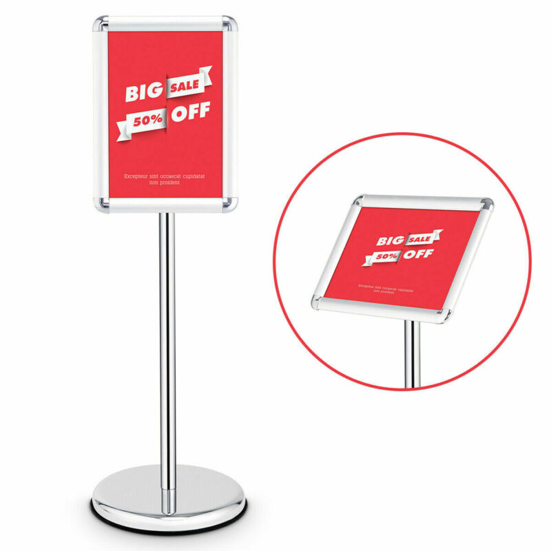 """Adjustable Pedestal Poster Stand Aluminum Snap Open Frame For 9.5"""" x 13"""" Graphic"""