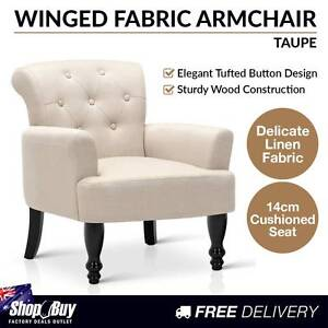 Free Delivery: Wing Armchair French Provincial Linen Fabric Taup Moorebank Liverpool Area Preview