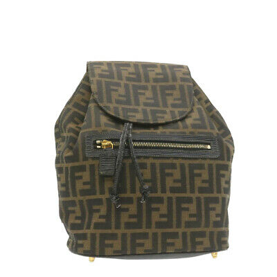 FENDI Zucca Canvas Backpack Brown Black Auth gt690
