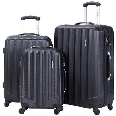 Купить Goplus - GLOBALWAY 3 Pcs Luggage Travel Set Bag ABS Trolley Suitcase w/TSA Lock Black