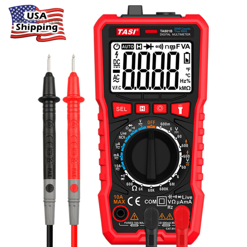 Auto/Manual Digital Multimeter AC DC Voltmeter OHM AMP Volt Tester Diode Meter
