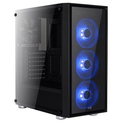 PC Gehäuse Midi Tower AeroCool Quartz Blue, LED Lüfter beleuchtet, Glasfront
