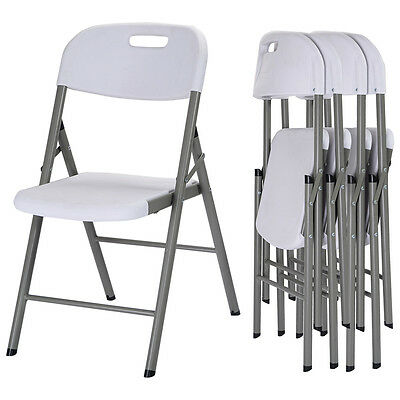 Set of 4 Folding Chairs Heavy Duty Steel Frame Plastic Commercial Wedding Party