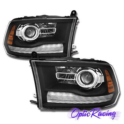 [Anti-Fog] 2009-2018 Dodge Ram 1500 2500 3500 LED DRL Projector Black Headlights