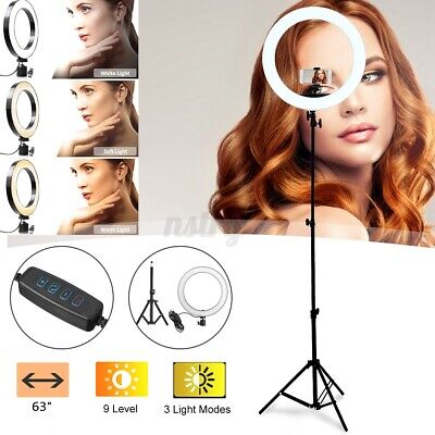 "10"" LED Selfie Ring Light Kit w/ 63"" Tripod Stand For Live Studio Photography US"