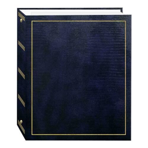 Pioneer Photo Albums 100 Magnetic Page 3-Ring Leatherette Photo Album, Navy Blue