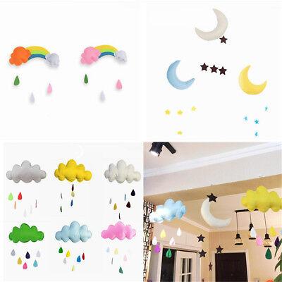 Rainbow Cloud Moon Rain Drops Wall Hanging Photo Prop Baby Nursery Room Decor
