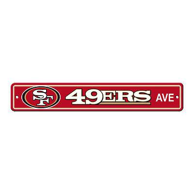 New NFL San Francisco 49ers Home Decor AVE Street Sign 24 X 4 Styrene Plastic
