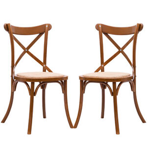 Set Of 2 Cross Back Dining Side Chair Solid Wood Rattan Seat Modern  Farmhouse