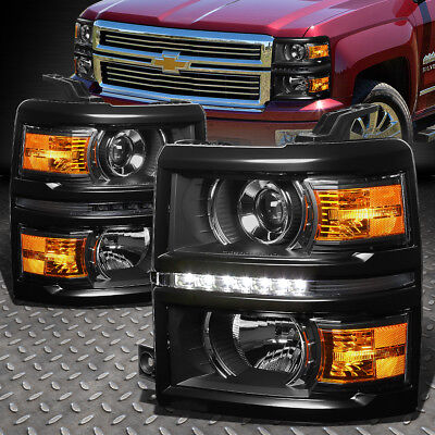 Black Projector - FOR 2014-2015 CHEVY SILVERADO BLACK AMBER PROJECTOR HEADLIGHT/LAMP W/LED DRL