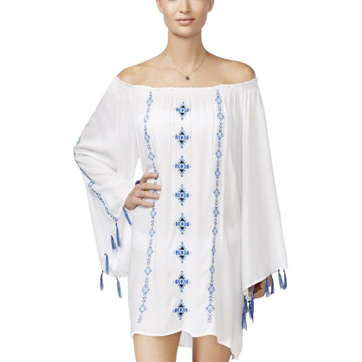 b95343673140d Details about Raviya Swim Cover Up Sz S Raviya White 3 4-Sleeve Embroidered  Off-Shoulder Tunic