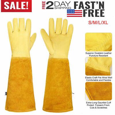 1 Pair Long Rose Gardening Gloves Men Women Thorn Proof Leather Work Waterproof ()
