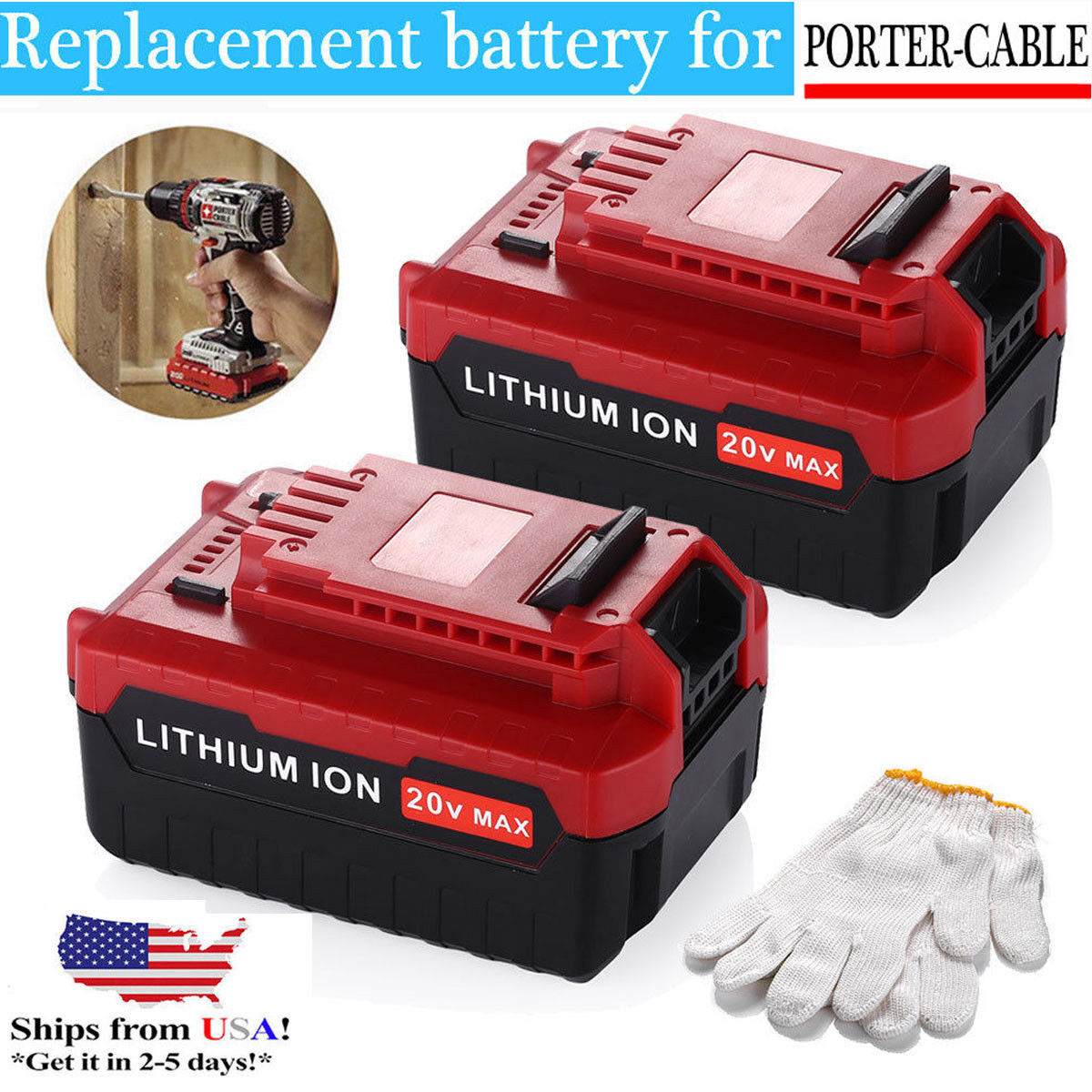 2 Pack 20V Max 5.0Ah Lithium Battery for Porter Cable PCC685