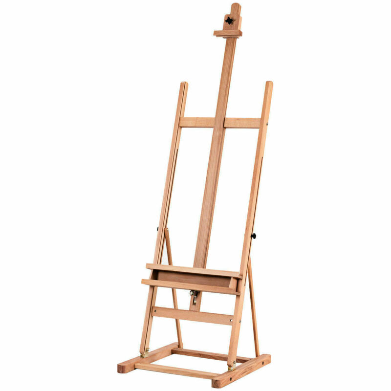 Wood H-Frame Floor Easel Artist Painting Display Studio Fully Adjustable w/ Tray
