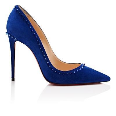 NIB Christian Louboutin Anjalina 100 Azulejo Blue Suede Spike Heel Pump 41.5