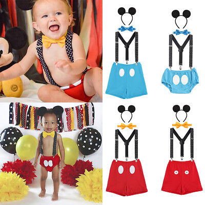 Mickey Mouse Baby Boy 1st Birthday Party Cake Smash Photo Prop Romper Outfit](Mickey Mouse 1st Birthday Outfit Boy)