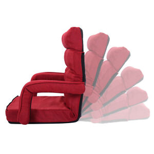 Folding Lazy Sofa Floor Chair Lounger Bed With Armrests And A Pillow Red