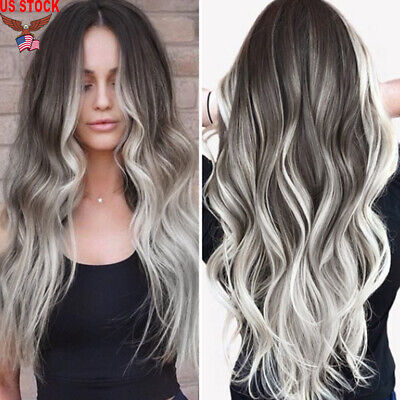 Women Fashion Synthetic Hair Lace Front Wig Body Wavy Full Curly Wigs Ombre - Gray Wigs