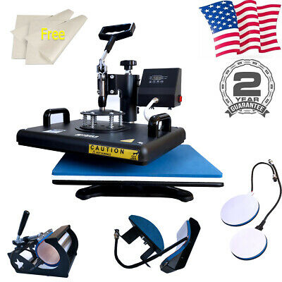 Heat Press Machine 5 In 1 Digital Transfer 12x15 For T-shirt Mug Cup Plate Hats
