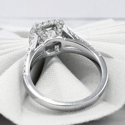 2.30 Ct. Cushion Cut Pave Diamond Halo Split Shank Engagement Ring H VS2 14K GIA 6