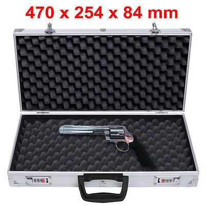 Aluminium Pistol Gun Case Carry Storage Lockable Flight Case Tool Secure Box